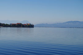 Bodensee - Lindau Rheintal - 3 Schwestern, Liechtenstein - Alpstein, Appenzell  Lake Constance - Lindau, Bavaria Alps Rhine Valley - Mount 3 Sisters, Liechtenstein - Mount Alpstein, Appenzell CH, far back